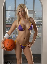 Lakers girl victoria. Irresistible Lakers fan posing in libidinous bikini